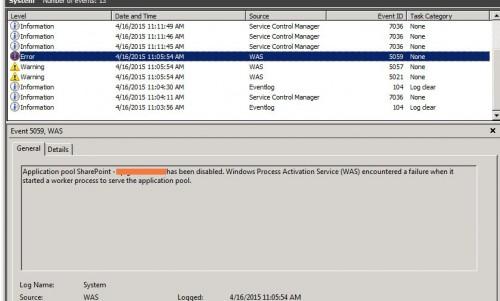 sharepoint event viewer errors